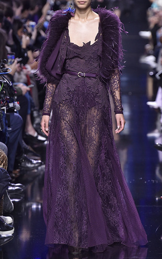 Medium elie saab purple macrame lace bolero jacket