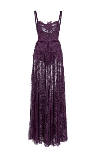 Medium elie saab purple macrame lace long dress