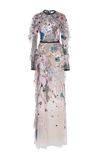 Medium elie saab multi bead embroidered tulle cape gown