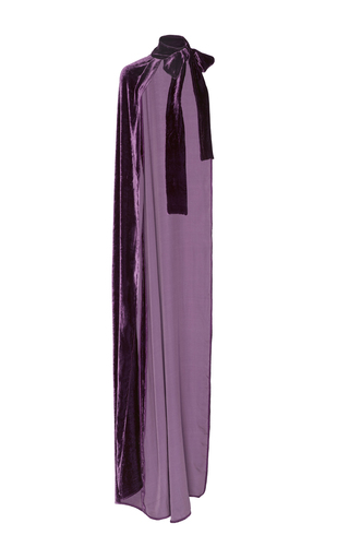 Medium elie saab purple one shoulder velvet cape