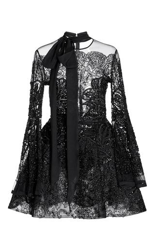 Medium elie saab black bead embroidered short dress