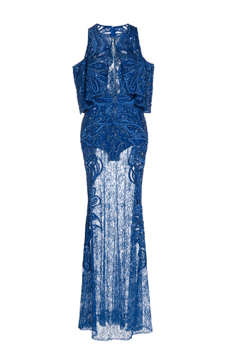 Medium elie saab blue embroidered cutout shoulder gown