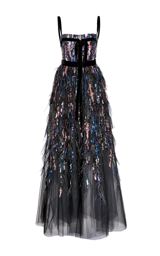 Medium elie saab multi bead and feather embroidered gown
