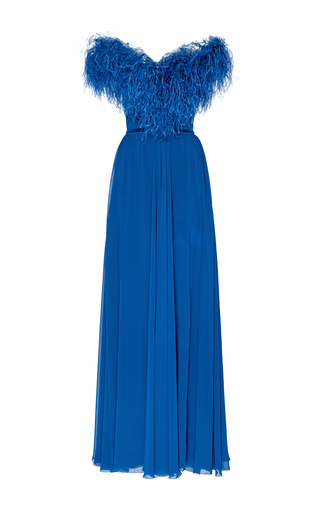Medium elie saab blue off the shoulder feather gown