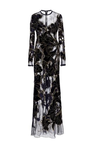 Medium elie saab black bead embroidered illusion gown