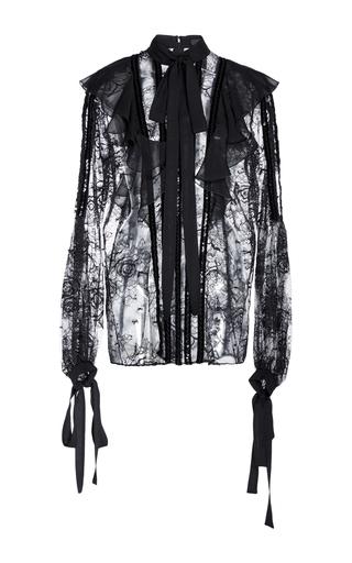 Medium elie saab black lace ruffled long sleeve blouse