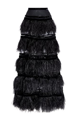 Medium elie saab black feather tiered maxi skirt