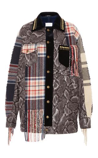 Medium maison margiela multi patchwork fringe coat