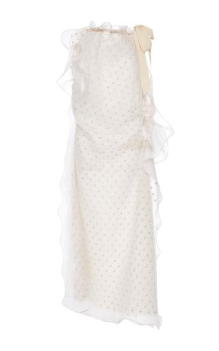 Medium maison margiela white flocked tulle halter dress