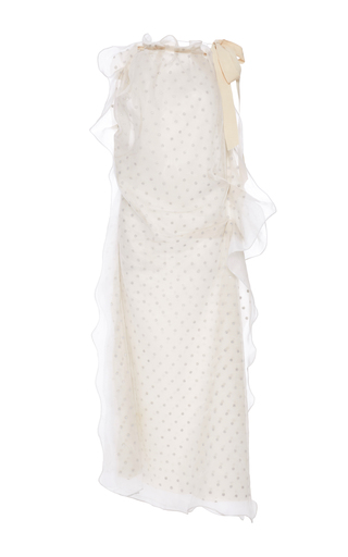 Medium maison margiela white flocked tulle halter dress