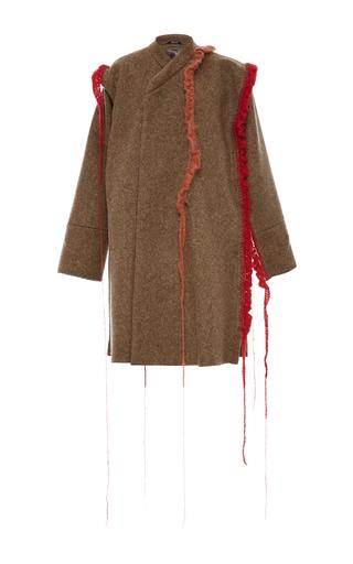 Medium maison margiela green collarless wool coat
