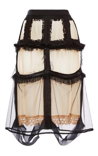 Medium maison margiela black decortique silk wool skirt