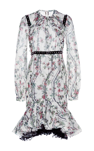 Medium giambattista valli white floral printed cocktail dress