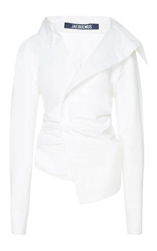 Medium jacquemus white asymmetrical gathered shirt