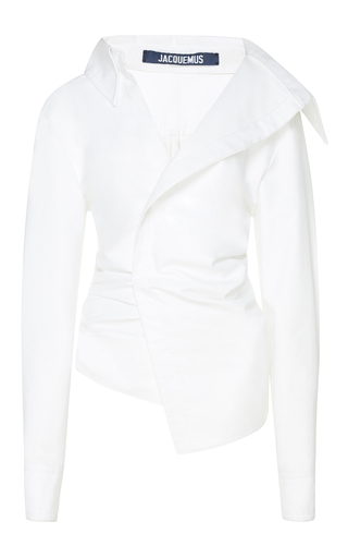 Medium jacquemus white asymmetrical gathered shirt