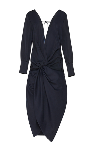 Medium jacquemus navy v neck draped sheath dress