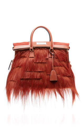 Medium maison margiela red kidassia fur 5ac bag
