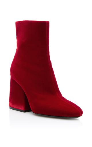 Medium maison margiela red velvet ankle boot with big flair heel