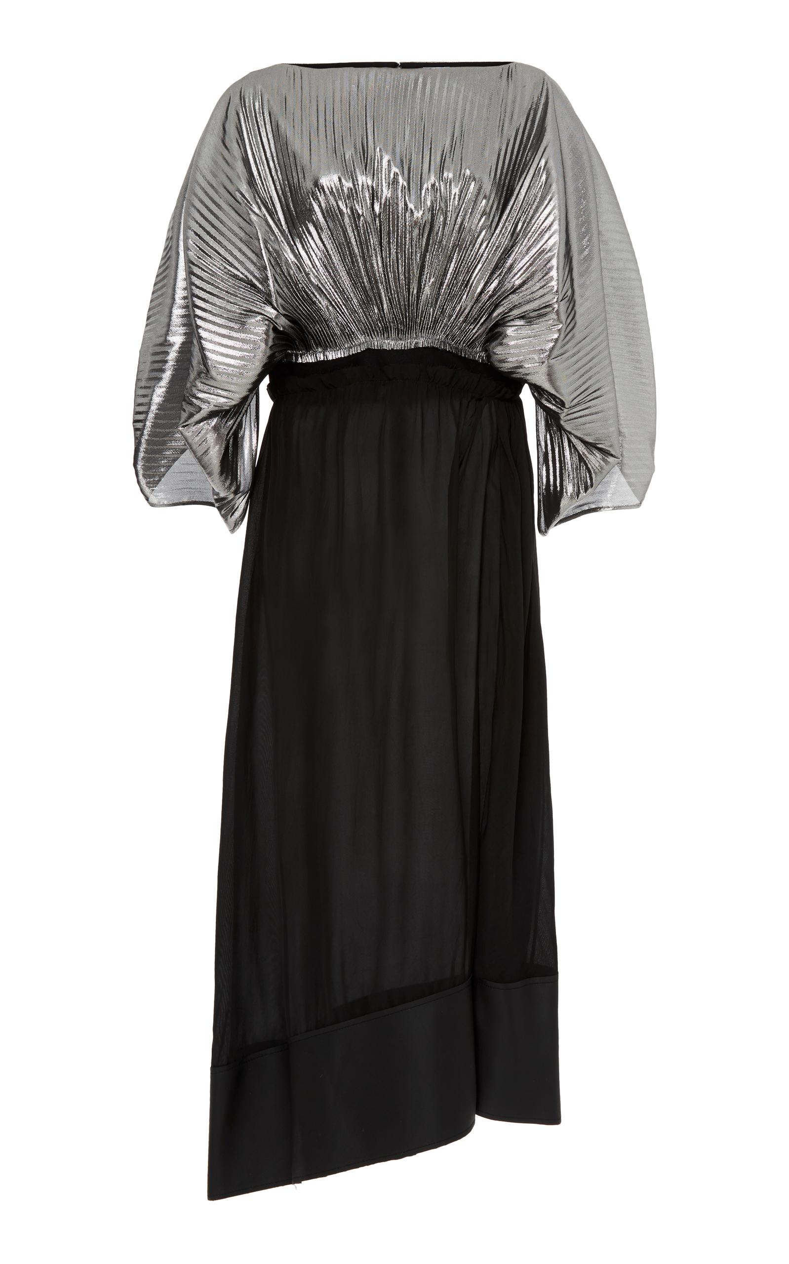 Bi-colour cocoon-sleeved lurex dress Loewe etajhY