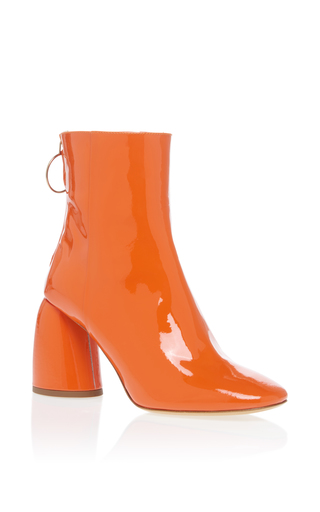 Medium ellery orange patent mid heel bootie