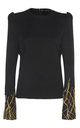 Medium haider ackermann black embroidered 3d shoulder top