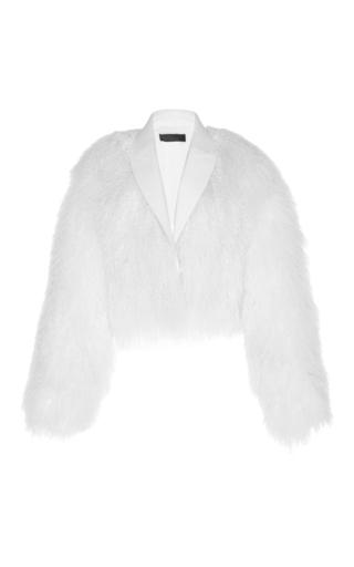 Medium haider ackermann white mongolian lamb fur bomber
