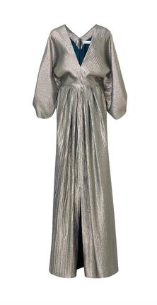 Medium elizabeth kennedy metallic specialorder plunging neckline gown with oversized sleeves bs