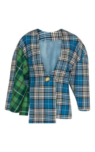 Medium tata naka blue checked asymmetric square shoulder jacket