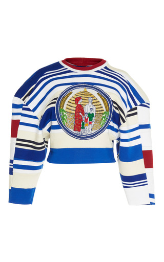 Medium tata naka multi striped rib wide sleeve top
