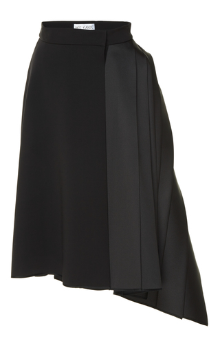 Medium dice kayek black asymmetrical pleated skirt