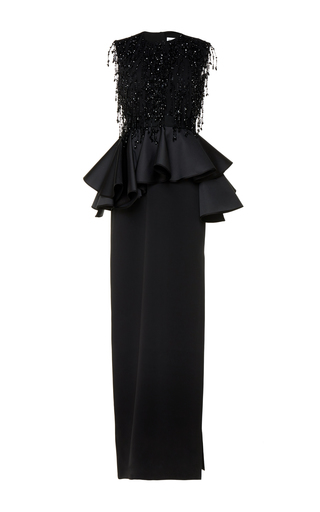 Medium dice kayek black bead embroidered peplum gown