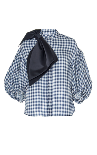 Medium dice kayek navy puff sleeves bow shirt