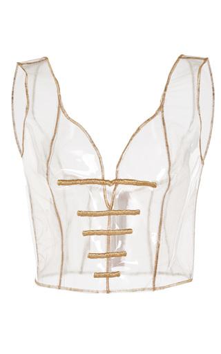 Medium sandra mansour white chaldene embroidered plastic corset