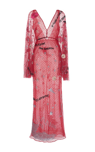 Medium sandra mansour red lada embroidered maxi dress