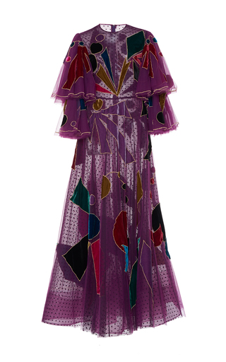 Medium sandra mansour purple phobos embroidered tulle gown