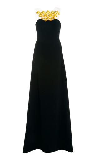 Medium romona keveza black a line gown with feather detail