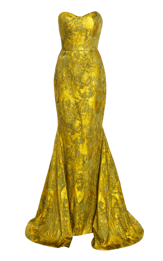 Medium romona keveza gold strapless antique brocade gown