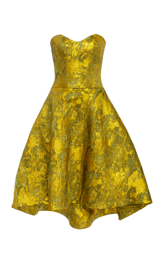 Medium romona keveza gold strapless antique brocade cocktail dress