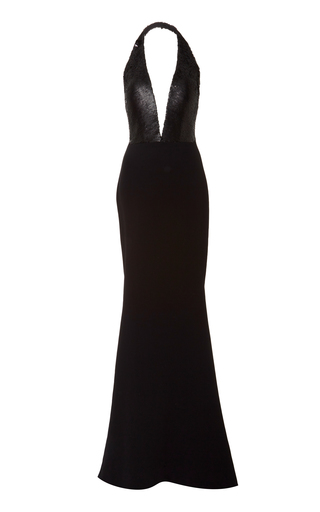 Medium romona keveza black sequin halter top gown
