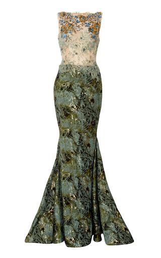 Medium romona keveza gold sleeveless boat neck gown with beading