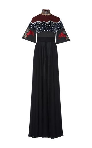 Medium hussein bazaza black embellished mock neck gown