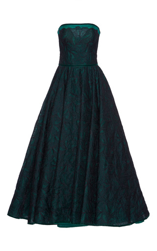 Medium costarellos green floral embroidered strapless gown