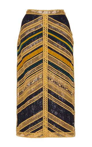 Medium costarellos yellow lace pencil skirt