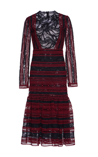 Medium costarellos burgundy striped lace long sleeve dress