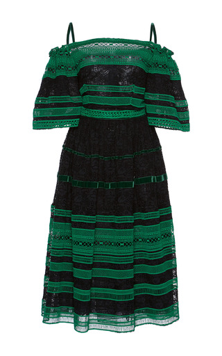 Medium costarellos green off the shoulder striped lace dress