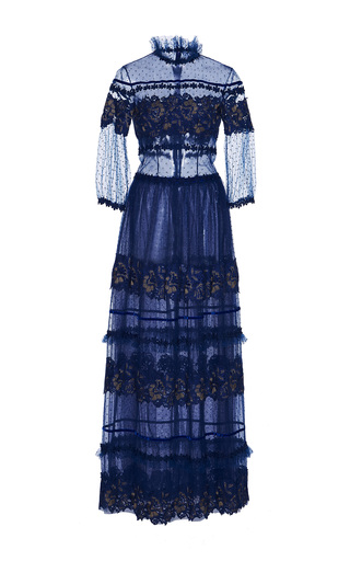 Medium costarellos blue high neck lace dress
