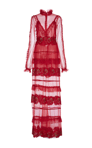 Medium costarellos red floral lace dress