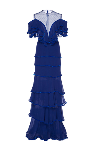 Medium costarellos blue flared layered silk gown