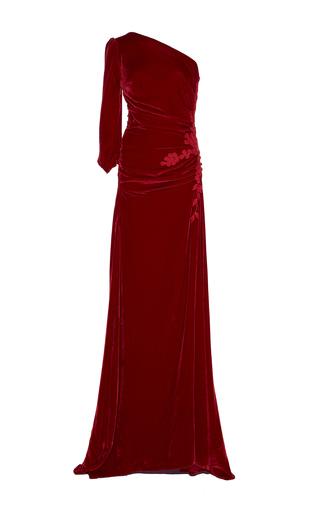 Medium costarellos red velvet one shoulder gown