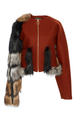 Medium christian siriano red faux fur and wool jacket